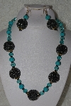 "+MBAHB #00015-8920  ""One Of A Kind Blue & Black Bead Necklace & Earring Set"""