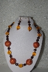 "+MBAHB #00015-8872   ""One Of A Kind Orange & Brown Bead Necklace & Earring Set"""