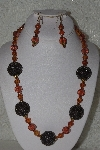 "+MBAHB #00015-9071  ""One Of A Kind Brown Bead Necklace & Earring Set"""