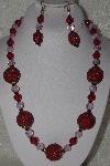 "+MBAHB #00015-9065  ""One Of A Kind Red & Pink Bead Necklace & Earring Set"""