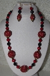 "+MBAHB #00015-9059  ""One Of A Kind Red & Black Bead Necklace & Earring Set"""