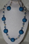 "+MBAHB #00015-9053  ""One Of A Kind Blue & Natural Bead Necklace & Earring Set"""