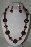 "+MBAHB #00015-9047  ""One Of A Kind Brwon Bead Necklace & Earring Set"""