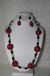 "+MBAHB #00015-9041  ""One Of A Kind Red, Black & AB Bead Necklace & Earring Set"""