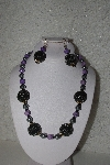 "+MBAHB #00015-9023  ""One Of A Kind Silver, Purple & Black Bead Necklace & Earring Set"""