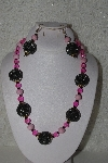 "+MBAHB #00015-9017  ""One Of A Kind Pink & Brwon Bead Necklace & Earring Set"""