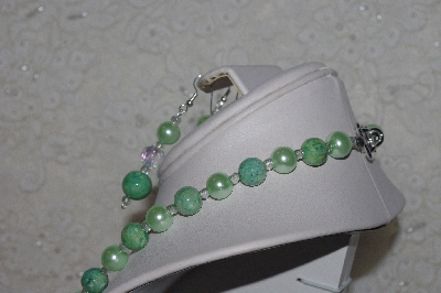 MBAHB #00015-8992  One Of A Kind Green & Clear Bead Necklace & Earring Set""