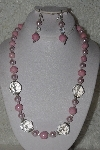 "MBAHB #00015-8889   ""Fancy Pink & Clear Glass Bead Necklace & Earring Set"""