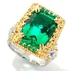 "**MBAMG #00016-402266  ""Beautiful Barzilian Cut Green Quartz & Emerald Ring"""