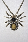 "**MBAMG #00016-0153   ""Rhinestone & Brown Resin Spider Pendant & Chain"""