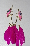 "+MBAMG #00016-0140  ""Fancy 5"" Pink Enameled Parrot Feather Earrings"""