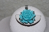 "**MBAAC #001-9434  ""Hand Carved Bone Dyed Turquoise Blue Rose Pendant"""