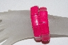 "**MBAAC #01-9377  ""Set Of 2 Fancy Dyed DK Pink Howlite Gemstone Stretch Bracelets"""
