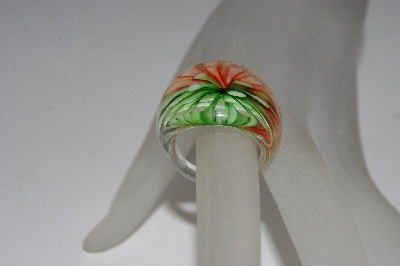"+MBAAC #01-9517  ""Fancy Art Glass Floral Ring"""