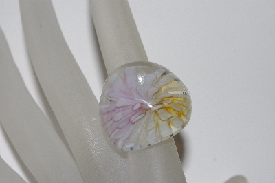 "+MBAAC #01-9524  ""Fancy Floral Art Glass Ring"""