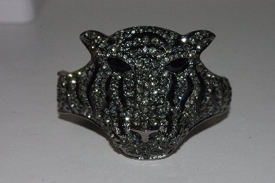 "+MBAAC #01-9345  ""Smoke & Black Crystal Rhinestone Large Tiger Hinged Bracelet"""