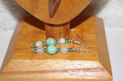 "MBAAC  #02-9665  ""Valley  Oak Acorn Green & Clear Glass Bead Necklace & Earring Set"""