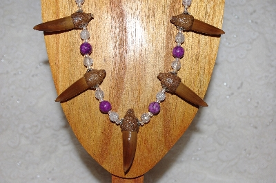 "MBAAC #02-9675  ""Capped Valley Oak Acorn Beads & Clear & Violet Bead Necklace & Earring Set"""
