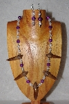 "+MBAAC #02-9675  ""Capped Valley Oak Acorn Beads & Clear & Violet Bead Necklace & Earring Set"""