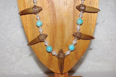 "MBAAC #02-9685  ""Valley Oak Acorn Beads, Clear & Blue Bead Necklace & Earring Set"""