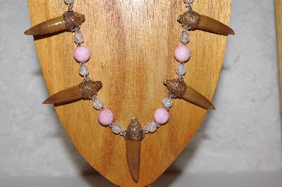 "MBAAC #02-9690  ""Valley  Oak Acorn Beads, Pink & Clear Bead Necklace & Earring Set"""