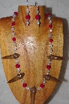"+MBAAC #02-9695  "" Valley Oak Acorn Beads, Clear Glass & Rose Riverstone Bead Necklace & Earring Set"""
