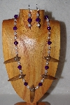 "MBAAC #02-9700  ""Valley Oak Acorn Bead, Clear & DK Purple Bead Necklace & Earring Set"""