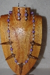 "+MBAAC #02-9710  ""Valley Oak Acron Beads, Clear & Lavender Bead Necklace & Earring Set"""