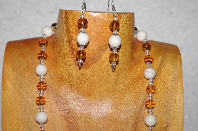 "MBAAC #02-9720  ""Valley Oak Acorn Beads,Honey & White Bead Necklace & Earring Set"""