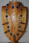 "MBAAC #02-9740  ""Valley Oak Acorn Beads & Blue Bead Necklace & Earring Set"""