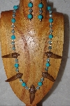 "MBAAC #02-9750  ""Valley Oak Acorn Beads & Blue Bead Necklace & Earring Set"""