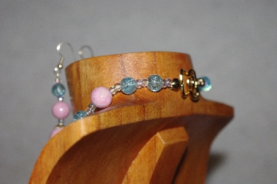 "MBAAC #02-9755  ""Valley Oak Acorn Beads, Pink & Blue Bead Necklace & Earring Set"""