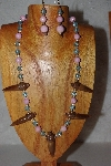 "+MBAAC #02-9755  ""Valley Oak Acorn Beads, Pink & Blue Bead Necklace & Earring Set"""