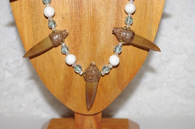 "MBAAC #02-9762  ""Valley Oak Acorn Beads,White & Blue Bead Necklace & Earring Set"""