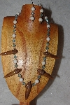 "+MBAAC #02-9762  ""Valley Oak Acorn Beads,White & Blue Bead Necklace & Earring Set"""