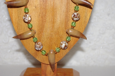 "MBAAC #02-9767  ""Valley Oak Acorn Beads, Brown & Green Bead Necklace & Earring Set"""