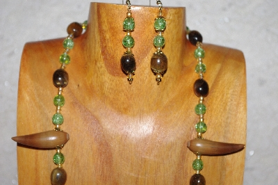 "MBAAC #02-9771  ""Valley Oak Acorn Beads, Green & Brown Bead Necklace & Earring Set"""