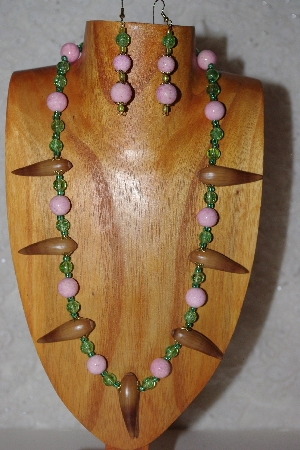 "MBAAC #02-9776  ""Valley Oak Acorn Beads, Pink & Green Bead Necklace & Earring Set"""