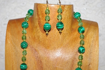 "MBAAC #02-9781  ""Valley Oak Acorn Beads & Green Bead Necklace & Earring Set"""