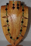 "MBAAC #02-9786  ""Valley Oak Acorn Beads, Black & Green Bead Necklace & Earring Set"""