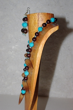 "MBAAC #02-9795  ""Valley Oak Acorn Beads, Brown & Blue Bead Necklace & Earring Set"""