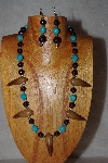 "+MBAAC #02-9795  ""Valley Oak Acorn Beads, Brown & Blue Bead Necklace & Earring Set"""