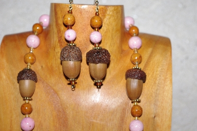 "MBAAC #02-9837   ""White Oak Acorn Beads, Pink & Brown Bead Necklace & Earring Set"""