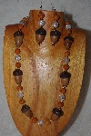 "+MBAAC #02-9842  ""White Oak Acorn Beads, Brown & Clear Bead Necklace & Earring Set"""
