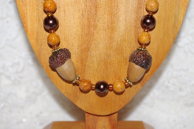 "MBAAC #02-9848  ""White Oak Acorn Beads & Brown Bead Necklace & Earring Set"""