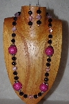 "+MBAAC #02-9858  ""Pearl White Hand Made Cluster Beads, Black & Pink Bead Necklace & Earring Set"""