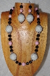 "+MBAAC #02-9868  ""Pearl White Hand Made Cluster Beads,Pink & Black Bead Necklace & Earring Set"""
