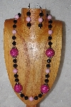 "+MBAAC #02-9873  ""Pink Hand Made Cluster Beads, Black & Pink Bead Necklace & Earring Set"""