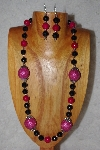 "+MBAAC #02-9878  ""Pink Seed Bead Cluster Beads, Rose & Black Bead Necklace & Earring Set"""