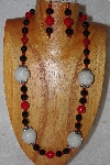 "+MBAAC #02-9888  ""Pearl White Seed Bead Cluster Beads, Red & Black Bead Necklace & Earring Set"""
